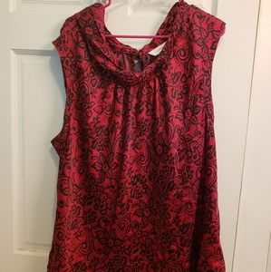 CJ Banks red and black blouse size 3x